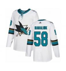 Men's San Jose Sharks #58 Dillon Hamaliuk Authentic White Away Hockey Jersey