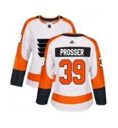 Women's Philadelphia Flyers #39 Nate Prosser Authentic White Away Hockey Jersey