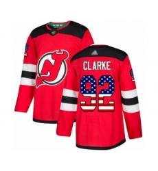 Men's New Jersey Devils #92 Graeme Clarke Authentic Red USA Flag Fashion Hockey Jersey