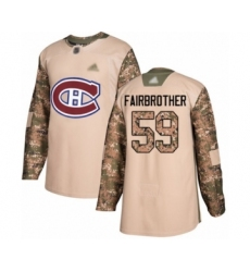 Men's Montreal Canadiens #59 Gianni Fairbrother Authentic Camo Veterans Day Practice Hockey Jersey