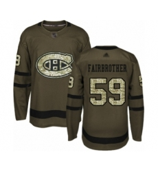 Men's Montreal Canadiens #59 Gianni Fairbrother Authentic Green Salute to Service Hockey Jersey