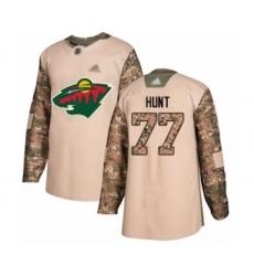 Men's Minnesota Wild #77 Brad Hunt Authentic Camo Veterans Day Practice Hockey Jersey