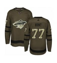 Men's Minnesota Wild #77 Brad Hunt Authentic Green Salute to Service Hockey Jersey