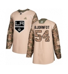 Youth Los Angeles Kings #54 Tobias Bjornfot Authentic Camo Veterans Day Practice Hockey Jersey