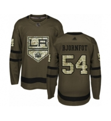 Youth Los Angeles Kings #54 Tobias Bjornfot Authentic Green Salute to Service Hockey Jersey