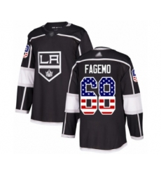 Men's Los Angeles Kings #68 Samuel Fagemo Authentic Black USA Flag Fashion Hockey Jersey