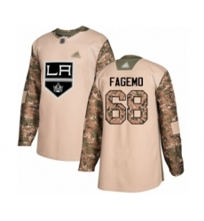 Men's Los Angeles Kings #68 Samuel Fagemo Authentic Camo Veterans Day Practice Hockey Jersey