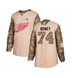 Men's Detroit Red Wings #74 Madison Bowey Authentic Camo Veterans Day Practice Hockey Jersey