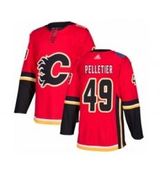 Men's Calgary Flames #49 Jakob Pelletier Authentic Red Home Hockey Jersey