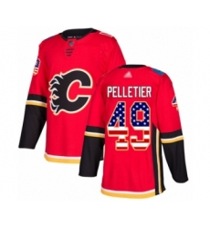 Men's Calgary Flames #49 Jakob Pelletier Authentic Red USA Flag Fashion Hockey Jersey