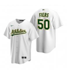 Men's Nike Oakland Athletics #50 Mike Fiers White Home Stitched Baseball Jersey