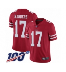 Men's San Francisco 49ers #17 Emmanuel Sanders Red Team Color Vapor Untouchable Limited Player 100th Season Football Jersey