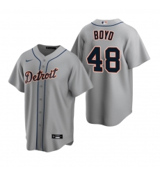 Men's Nike Detroit Tigers #48 Matthew Boyd Gray Road Stitched Baseball Jersey