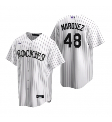 Men's Nike Colorado Rockies #48 German Marquez White Home Stitched Baseball Jersey