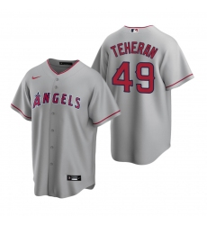 Men's Nike Los Angeles Angels #49 Julio Teheran Gray Road Stitched Baseball Jersey