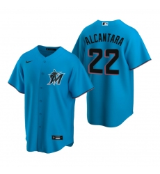 Men's Nike Miami Marlins #22 Sandy Alcantara Blue Alternate Stitched Baseball Jersey
