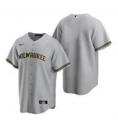 Men's Nike Milwaukee Brewers Blank Gray Road Stitched Baseball Jersey