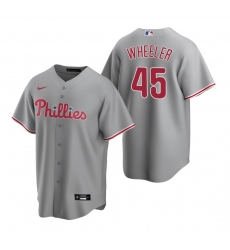 Men's Nike Philadelphia Phillies #45 Zack Wheeler Gray Road Stitched Baseball Jersey