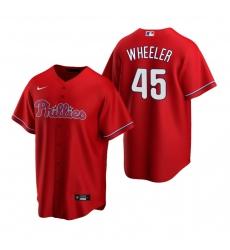 Men's Nike Philadelphia Phillies #45 Zack Wheeler Red Alternate Stitched Baseball Jersey