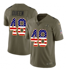 Men's Baltimore Ravens #48 Patrick Queen Olive USA Flag Stitched NFL Limited 2017 Salute To Service Jersey