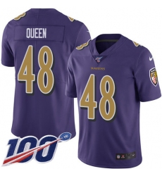 Men's Baltimore Ravens #48 Patrick Queen Purple Stitched NFL Limited Rush 100th Season Jersey
