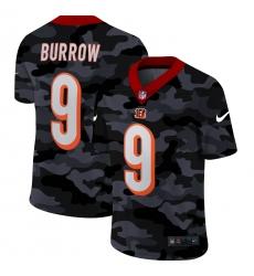 Men's Cincinnati Bengals #9 Joe Burrow Camo 2020 Nike Limited Jersey
