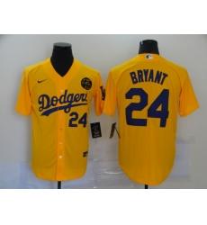 Men's Nike Los Angeles Dodgers #24 Kobe Bryant yellow Jersey