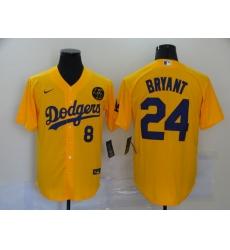 Men's Nike Los Angeles Dodgers Kobe Bryant yellow Jersey
