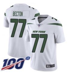Men's New York Jets #77 Mekhi Becton White Stitched 100th Season Vapor Untouchable Limited Jersey
