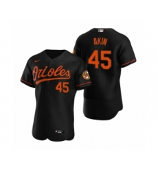 Men's Baltimore Orioles #45 Keegan Akin Nike Black Authentic Alternate Jersey