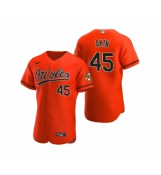Men's Baltimore Orioles #45 Keegan Akin Nike Orange Authentic Alternate Jersey