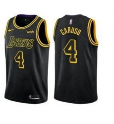 Men's Nike Los Angeles Lakers #4 Alex Caruso Swingman Black NBA Jersey - City Edition