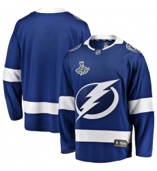 Men's Tampa Bay Lightning Fanatics Branded Blue Blank Home 2020 Stanley Cup Champions Breakaway Jersey