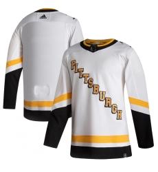 Men's Pittsburgh Penguins adidas Blank White 2020-21 Reverse Retro Authentic Jersey