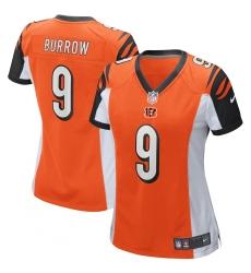 Women's Cincinnati Bengals #9 Joe Burrow Nike Orange 2020 NFL Draft First Round Pick Game Jersey.webp