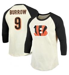 Men's Cincinnati Bengals #9 Joe Burrow Majestic Threads Cream Black Vintage Inspired 3 4 Sleeve Name & Number T-Shirt.webp