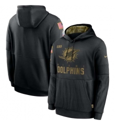 Men's NFL Miami Dolphins 2020 Salute To Service Black Pullover Hoodie