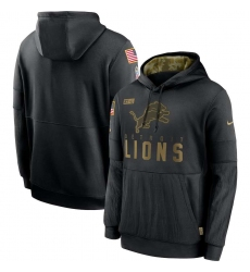 Men's NFL Detroit Lions 2020 Salute To Service Black Pullover Hoodie