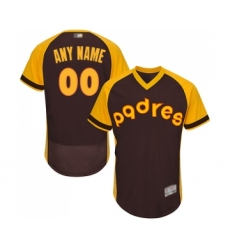 Men's San Diego Padres Customized Brown Alternate Cooperstown Authentic Collection Flex Base Baseball Jersey