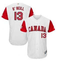 Men's Canada Baseball Majestic #13 Tyler O'Neill White 2017 World Baseball Classic Authentic Team Jersey