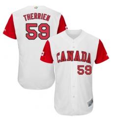 Men's Canada Baseball Majestic #59 Jessen Therrien White 2017 World Baseball Classic Authentic Team Jersey