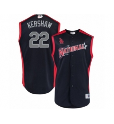 Men's Los Angeles Dodgers #22 Clayton Kershaw Authentic Navy Blue National League 2019 Baseball All-Star Jersey