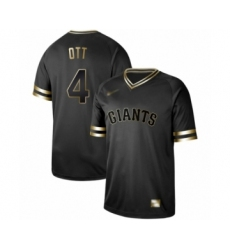 Men's San Francisco Giants #4 Mel Ott Authentic Black Gold Fashion Baseball Jersey