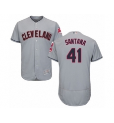 Men's Cleveland Indians #41 Carlos Santana Grey Road Flex Base Authentic Collection Baseball Jersey