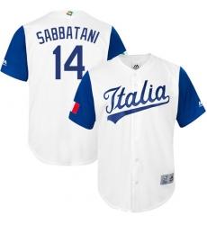 Men's Italy Baseball Majestic #14 Marco Sabbatani White 2017 World Baseball Classic Replica Team Jersey