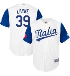 Men's Italy Baseball Majestic #39 Tommy Layne White 2017 World Baseball Classic Replica Team Jersey