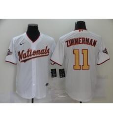 Men's Nike Washington Nationals #11 Ryan Zimmerman White Gold Home Stitched Baseball Jersey