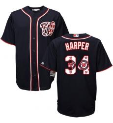Men's Majestic Washington Nationals #34 Bryce Harper Authentic Navy Blue Team Logo Fashion Cool Base MLB Jersey