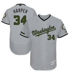 Men's Majestic Washington Nationals #34 Bryce Harper Grey Memorial Day Authentic Collection Flex Base MLB Jersey