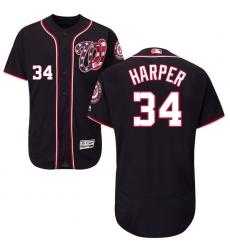 Men's Majestic Washington Nationals #34 Bryce Harper Navy Blue Alternate Flex Base Authentic Collection MLB Jersey